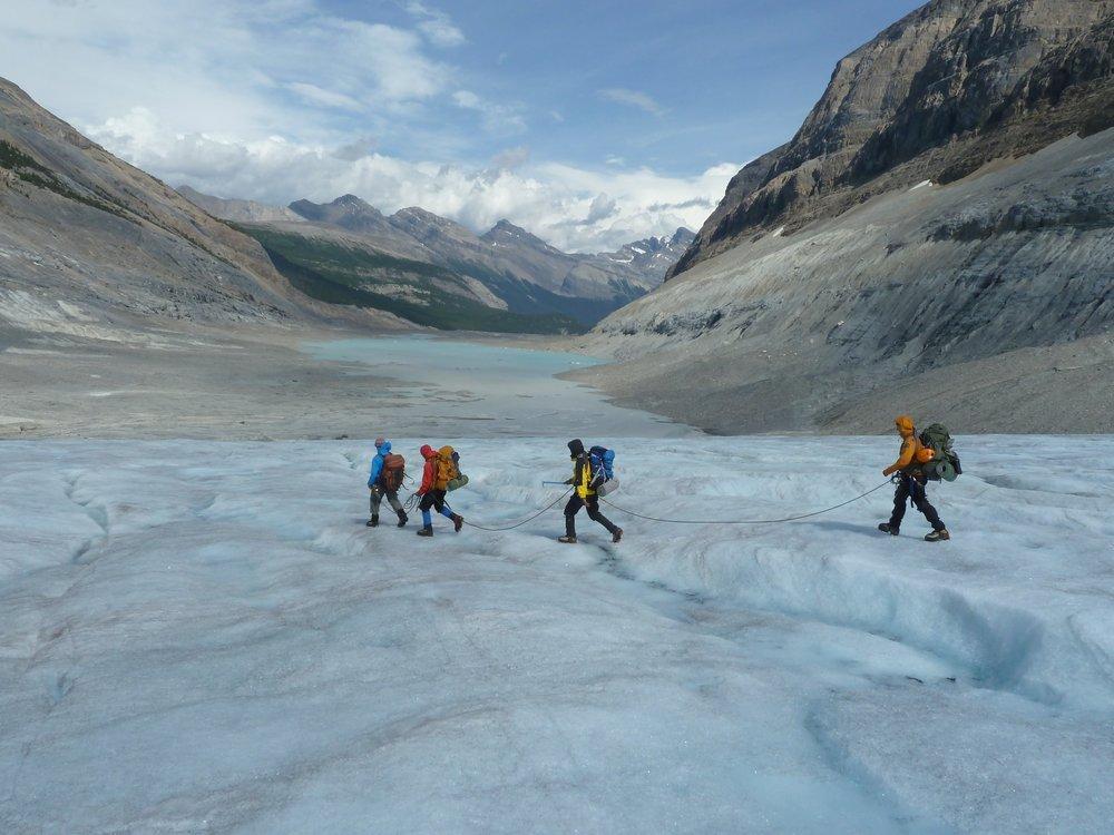 Neljä vaeltajaa Kanadan jäätiköllä vuorien keskellä kävelemässä eteenpäin