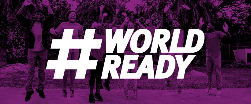 Violetilla taustalla hyppääviä henkilöitä. Etualalla teksti #WORLDREADY